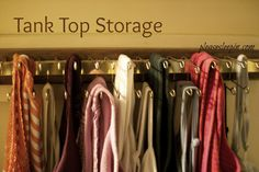 Apartment closet organisation clothing storage tank tops ideas for 2019 Tank Top Organization, Tank Top Storage, Apartment Closet Organization, Organization Ideas, Bathroom Linen Closet, Master Closet, Tank Tops, Clothing Storage, Heavens