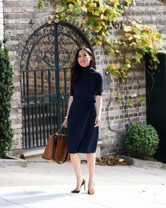 Make a serious style statement with a royal blue dress and pumps . How to dress up for office Office Wear Women Work Outfits, Business Casual Outfits For Women, Work Fashion, Cute Fashion, Classy Outfits, Girl Outfits, Rainy Day Outfit For Work, Professional Attire, Office Looks