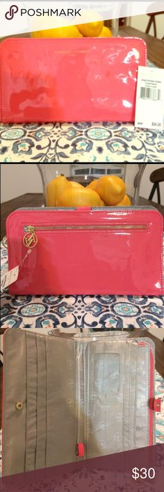 ADRIENNE VITTADINI LARGE PORTFOLIO WALLET CORAL BNWT Really cute spring and summer wallet. Large enough to hold  phone. Please see last photo for specs. Adrienne Vittadini Bags Wallets