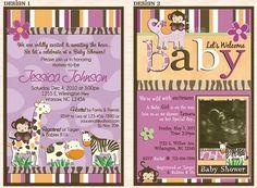 Baby Shower Invitations : Jungle Baby Shower Invitation Designs - Jacana Jungle Zoo Safari Monkey Baby Shower Invitation