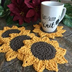 Sunflower Coaster Set Coasters Drink Coasters Sunflowers Coffee Home Decor Kitchen and Dining Tea Party Gift Crochet Coasters Tea Crochet Sunflower, Crochet Flowers, Doilies Crochet, Confection Au Crochet, Easy Knitting Projects, Crochet Projects To Sell, Beginner Knitting, Crochet Patterns For Beginners, Easy Crochet Patterns