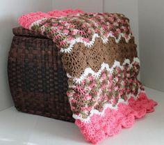 Handmade Wave Ripple Throw Afghan - Pink, Brown, Pink Camo