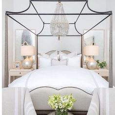Guest room with canopy and Chandelier.
