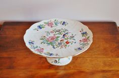 #Aynsley #Pembroke #BoneChina #CakeStand, Chinoiserie Floral Pedestal Stand, Cupcake Stand, Pedestal Dessert Plate - SOLD! :)