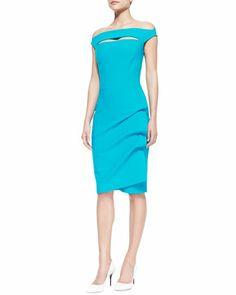 Off-Shoulder+Asymmetric-Skirt+Cocktail+Dress+by+La+Petite+Robe+by+Chiara+Boni+at+Neiman+Marcus.
