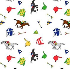 Equestrian Horse Kentucky Derby Fabric - Derby Days By Ragan - Kentucky Derby Cotton Fabric By The Yard With Spoonflower