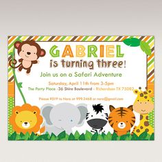 Safari Jungle Animals Birthday Party printable invitation by PNArt