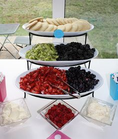 "Fun fruit ""pizza"" as wedding dessert station.... sugar cookies, cream cheese frosting, and fruit! Guests put together their own. Unique idea. shower ideas, fruit pizza, sugar cooki, birthday parties, pizza bar, baby showers, dessert, bridal showers, cream cheese frosting"