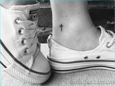 Tattoos for women, small tattoo designs, simple cross tattoo, ankle tattoo Cute Small Tattoos, Little Tattoos, Small Tattoo Designs, Trendy Tattoos, Tattoo Designs Men, Large Tattoos, Tiny Tattoos With Meaning, Small Cross Tattoos, Small Meaningful Tattoos