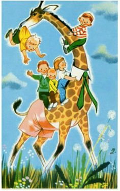 Gratulasjonskort BRATLIE, GUNNAR. 5 barn rir på sjiraff. Ubrukt 1968 Utg Aune.