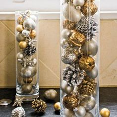 Like the vase and Christmas balls idea, but would use more color.