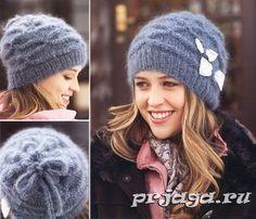 Текстурная женская шапка спицами
