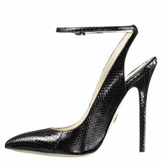 Black Sexy Ankle Strap Pointed Toe Pumps : sexyshoeswoman.com