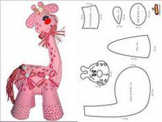 Corner of Titi (Molds and handicraft risks): *** Molds Giraffe *** Paper Piecing Patterns, Felt Patterns, Sewing Patterns, Fabric Animals, Felt Animals, Felt Fabric, Fabric Dolls, Crochet Projects, Sewing Projects
