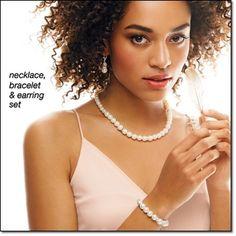 Pearlesque Elegance 3-Piece Gift Set Faux pearls with silvertone beads. Stretch bracelet fits most. http://jgoertzen.avonrepresentative.com/