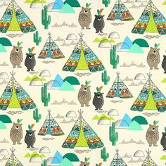Teepee and Bears Cretonne - Children's decor fabricsfavorable buying at our shop Motif Ikat, Ikat Pattern, Librarian Chic, Patchwork Pillow, Letter Patterns, Cartoon Design, Pet Clothes, Baby Decor, Spring Outfits