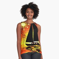 Gahr Graphics Products--Sunset Voyage Women's Tank Top.  #Redbubble #GahrGraphics #SunsetVoyage #Ocean #Sea #Sailing #Sailor #Sailboat #Fashion #WomensFashion #Tanktop #Apparel #GraphicTanktop #OriginalGift #Gift #Art #Artwork