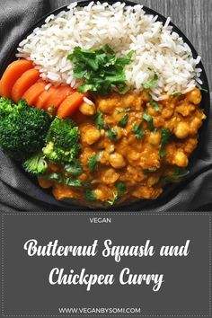 My scrummy butternut squash and chickpea curry is perfect for the cooler autumnal weather. The cooler weather is the perfect excuse for warm comforting bowls of food…, especially curries! Black Bean Stew, Chickpea Curry, Vegetable Puree, Gluten Free Rice, Butternut Squash, Chana Masala, Pasta Dishes, Vegan Recipes, Vegan Food