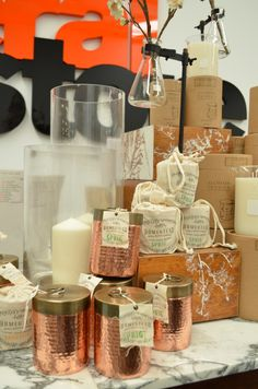Smelly stuff! Beautifully scented soy candles in hammered copper canisters from The General Store, Osborne Park