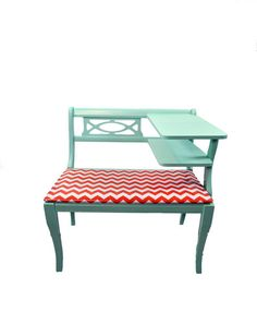 Chevron bench! Mint and red are always cute together