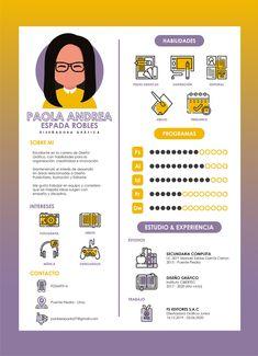 Graphic designer resume. Creative CV of Paola Andrea. #resume #cv Page Layout Design, Cv Design, Report Design, Design Trends, Infographic Resume, Creative Infographic, Graphic Design Resume, Graphic Design Posters, Creative Resume