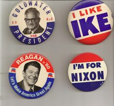 Vintage political campaign buttoms pity