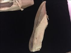 Side view of lady's walking shoe, ca. Cream silk brocade and tan leather uppers. Silk Brocade, Historical Society, Silk Ribbon, Walking Shoes, Side View, Tan Leather, Slip On, Cream, Lady