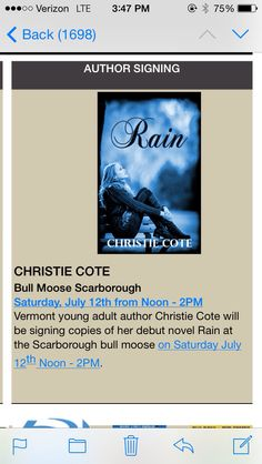 Coolest thing ever! I'm in the @bullmoose news letter! :)  #RAIN #booksigning #debutnovel #newrelease