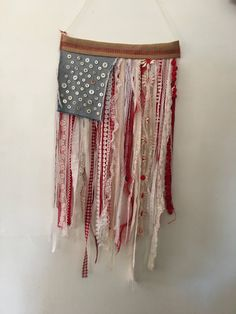 American Flag Wall Hanging textile flag wall hanging rag flag recycled fabric american flag