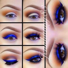Electric blue for brown eyes | If you want something bold. | Makeup Tutorials for Brown Eyes and Cool Makeup Ideas from MakeupTutorials.com #MakeupIdeas #MakeupTutorials