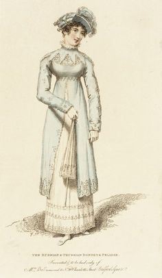 The Russian and Prussian Bonnet and Pelisse, fashion plate, hand-colored engraving on paper, published by John Bell, London, July 1814.