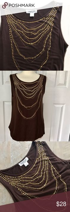 NWT August Silk Brown Sleeveless Top Gold Accents Brown tank top with gold gems in chain design. Scoop neck. Some stretch to fabric. 95% rayon 5% spandex. New with tags. August Silk size large. august silk Tops