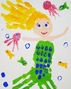 Activities: Paint a Handprint Mer -maid This activity will take a little time and a lot of help but would be a great mermaid party craftivity and take home gift! If you want to go crazy you could buy dollar store frames or cut some aqua construction paper two- four inches bigger  than your white paper (experiment to get the look you like) and glue the mermaid painting on it for an instant frame!