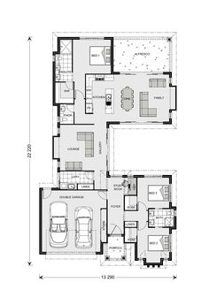 Mandalay Our Designs, New South Wales Builder, GJ Gardner Homes New South Wales Contemporary House Plans, Modern House Plans, Small House Plans, Home Design Floor Plans, Floor Design, House Design, Cottage Floor Plans, House Floor Plans, Bedroom House Plans