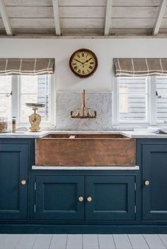 Home Decor Inspiration : Dark teal cabinets combined with beige white and timber. Home Decor Inspiration : Dark teal cabinets combined with beige white and timber touches hint at a nauti Farmhouse Sink Kitchen, Kitchen Paint, Farmhouse Style, Rustic Farmhouse, Fresh Farmhouse, Copper Farmhouse Sinks, Copper Kitchen Decor, Blue Kitchen Ideas, Nautical Kitchen