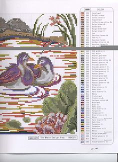 ru / Photo # 6 - 01 - the Ka Cross Stitch Cushion, Cross Stitch Bird, Cross Stitch Flowers, Counted Cross Stitch Patterns, Whimsical, Coral, Birds, Landscaping, Cushions
