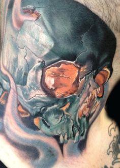Amazing neck piece by Phil Garcia  #InkedMagazine  #tattoos #inked #tattoo #ink #skull  #neck  #art  #stream