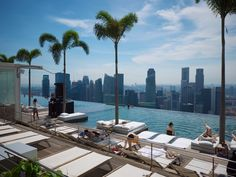 Singapore.  Marina Bay Sands Hotel- Infinity Pool with View of Singapore City