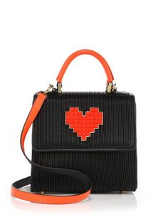 Les Petits Joueurs - Alex Lolita Mini Pleated Leather Heart Satchel