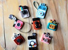 Set of 8 Quilled Vintage Toy Cameras  Unique by SweetSpotCardShop, $20.00