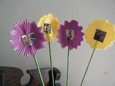 Photo flowers - easy kids craft made with muffin liners.