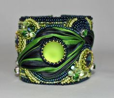 Cuff Bracelet Bead Embroidery Navy Kelly Green by ReneGibson, $225.00