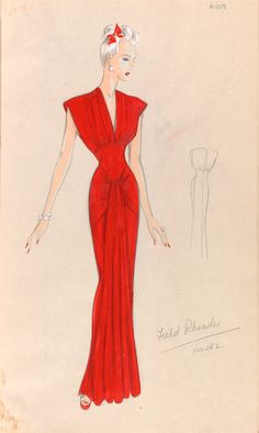 Design sketch for an evening gown, by Marjorie Field, London, 1940s. This design for an evening dress is based on a previous sketch. A band of material falls vertically from the waist, creating a scalloped bottom edge on the skirt. A smaller pencil sketch to the right shows the back of the dress. There is a slight difference from the other design in the front drape and the different color binding around the neck and the lower hip.