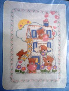 "Sealed Vintage Bucilla Stamped Cross Stitch Kit 40500 ~~ ""Teddies in a Shoe"" Quilted Crib Cover ~~ Designed by Joan Elliott"