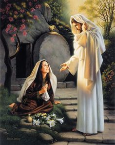 ??oman, why weepest thou? whom seekest thou? She, supposing him to be the gardener, saith unto him, Sir, if thou have borne him hence, tell me where thou hast laid him, and I will take him away. Jesus saith unto her, Mary. She turned herself, and...