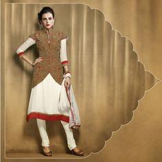 Captivating Deep Red & Off White Salwar Kameez