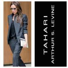 Tahari gray stretch blazer size 8 In mint condition fully lined and size 8 Tahari Jackets & Coats Blazers
