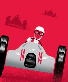 Beautiful Auto Union Typ D illustration by Ty Mattson.