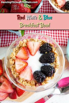 Whether you are looking for a gluten free breakfast or of July recipes this breakfast bowl is your answer! With only four ingredients this is one of those easy breakfast ideas that you can make anytime! Make Ahead Breakfast, Free Breakfast, Breakfast Bowls, Breakfast Ideas, Breakfast Recipes, Brunch Ideas, Healthy Vegetable Recipes, Fruit Recipes, Vegetarian Recipes