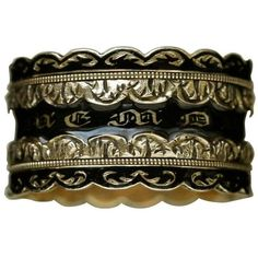 Preowned Black Enamel Wide Mourning Ring ($2,400) ❤ liked on Polyvore featuring jewelry, rings, band rings, black, enamel band rings, pre owned rings, preowned jewelry, wide band rings and goth rings